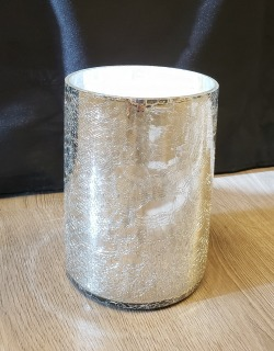 Crackle Glass Cylinder Vase