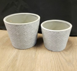 Floral Stamped Round Planters