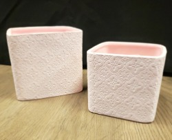 Floral Stamped Cube Planters