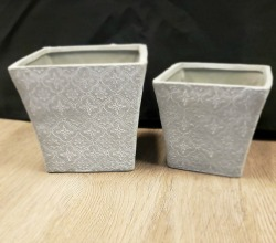 Floral Stamped Flared Planters