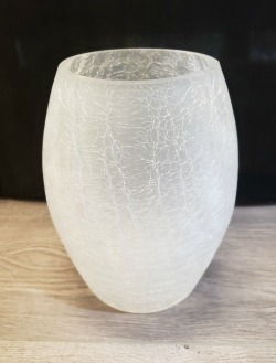 Crackle Glass Egg Shaped Vase