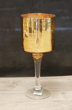 Speckled Gold Glass Cylinder Candle Holder