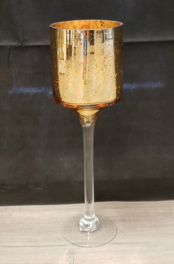 Speckled Gold Glass Cylinder Candle Holder
