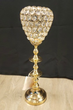 Gold and Crystal Candle Holder – Tall