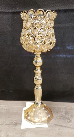 Gold Footed Crystal Candle Holder