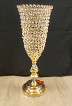 Large Crystal and Gold Footed Decor