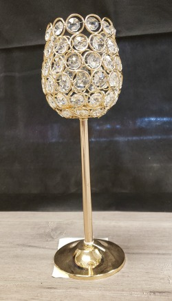Gold Stemmed Crystal Candle Holder